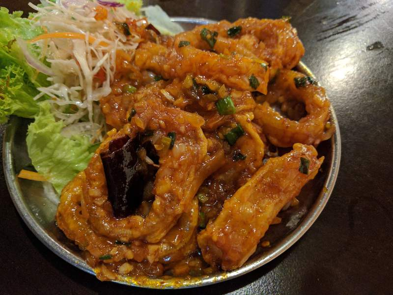 Squid Sezwan: spicy and tender